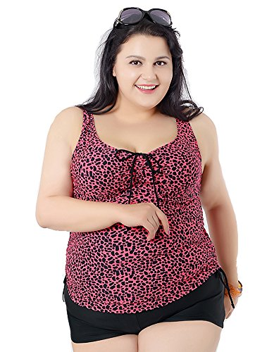 YX Women's Tankini & Shorts Swimwears Set (2 Piece),Super Plus Size Backless Swimsuits For Conservative Ladies, 20/22 Plus, Rose Red