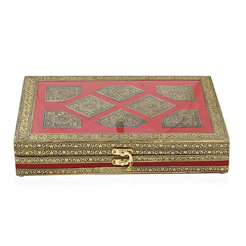 - Shop LC Delivering Joy Red Handcrafted Golden Embossed Aluminium Jewelry Organizer Box Storage with Transparent Window 11x8x2