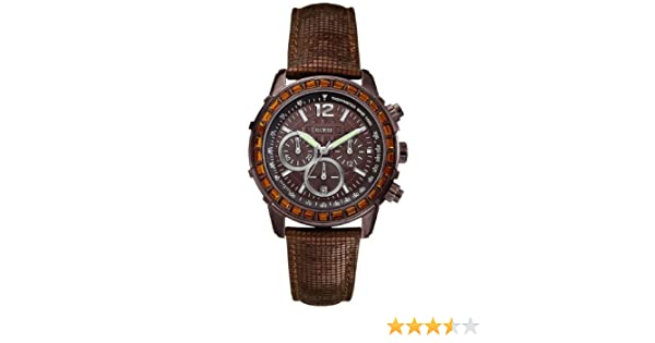Amazon.com: Guess Watch, Womens Chronograph Bronze Tone Textured Leather Strap U0017L4: Guess: Watches