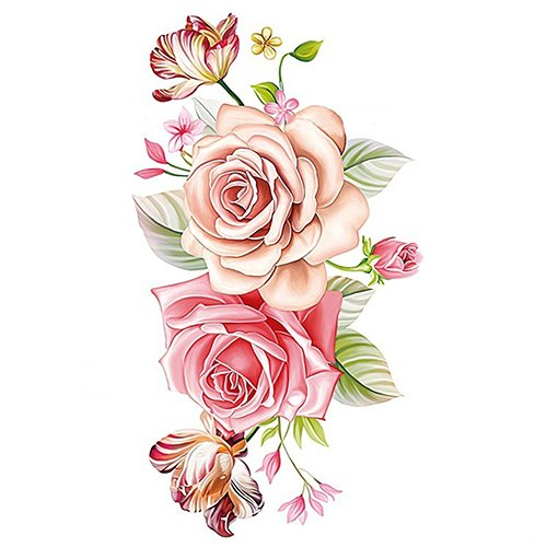 Bluelans Large Peony Flower Body Art Temporary Tattoos Fake Tattoo Sticker for Women Teens Girls (Peony Flower)