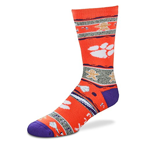 For Bare Feet NCAA Ugly Christmas Holiday Socks-Clemson Tigers-Orange-Large