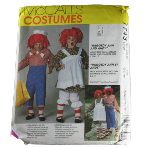 Mccall's 7743 Sewing Pattern Adult Costumes Raggedy Ann and Andy Size Large (Raggedy Ann Costumes Pattern)