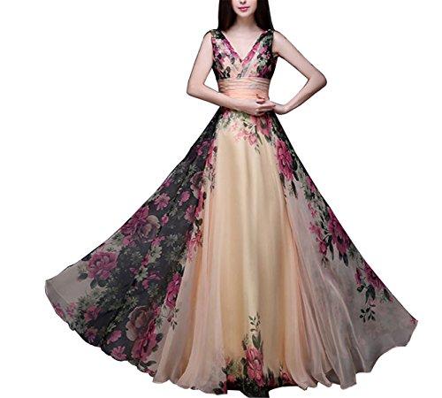 DiDi-Cut Fashion Summer Vintage Floral Dress NEW High Waist V-neck Long Dress robe longue femme Evening Party Elegant Women Dress Maxi (Dillards Robes)