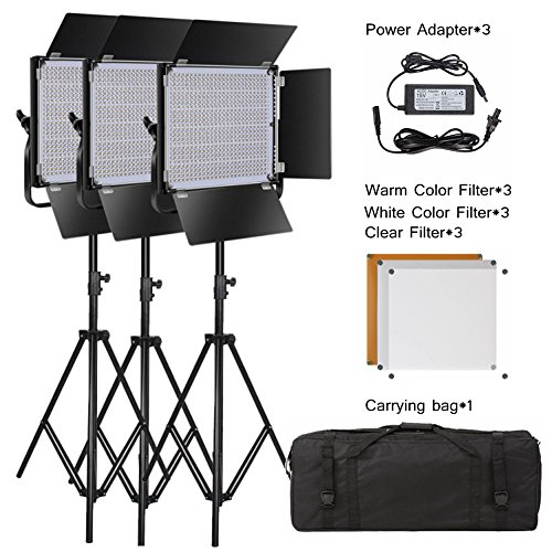 PIXEL 3 Pack Dimmable LED Video Light and Stand for Photography,Studio,YouTube,Video Shooting by Pixel