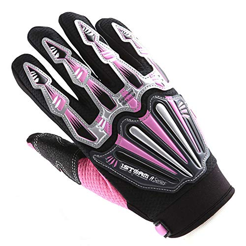 Motocross Motorcycle BMX MX ATV Dirt Bike Skeleton Racing Cycling Gloves Pink -