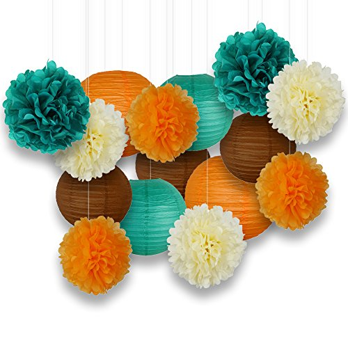 Just Artifacts Decorative Paper Party Pack (15pcs) Paper Lanterns and Pom Pom Balls - Teal/Oranges/Brown/Ivory