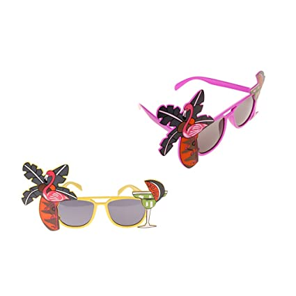 2 PACK Novelty Flamingo+Floral Bird Sunglasses Funny Party Cocktail Glasses