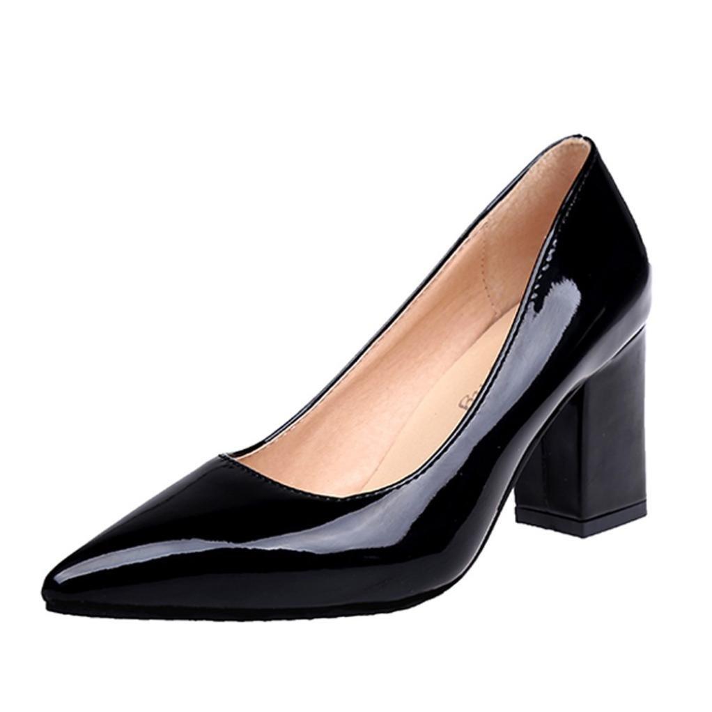 DENER Women Ladies Block Heels Pumps,Chunky Heel Pointed Toe Wide Width Comfortable Work Business Casual Shoes (Black, 42)