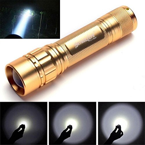 Laimeng Torch,Super Bright 3000 Lumens 3 Modes CREE XML XPE LED 18650 Flashlight Torch Lamp (Golden) - Firearm Lamp