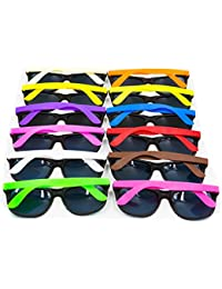 12PCS Neon 80's Style Party Sunglasses With Dark Lens For...