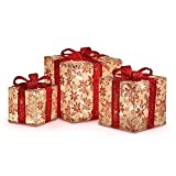 Set of 3 Glitter Poinsettia Burlap Presents Outdoor Christmas Decoration