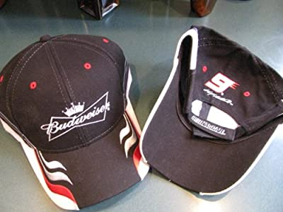 Kasey Kahne #9 Budweiser Bud Black With Red White Accents Style Winners Circle Hat Cap One Size Fits Most OSFM Adjustable Velcro Strap from Winners Circle