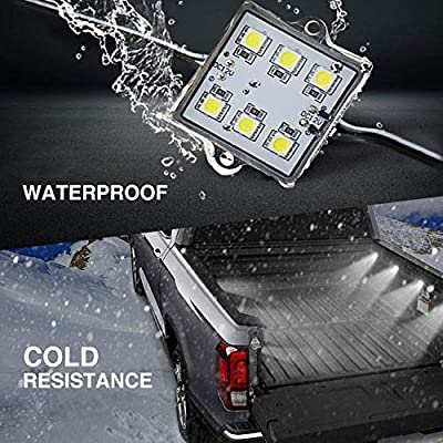 NBWDY 8 PCs Led 12V Truck Bed Light Kit,48 LEDs Cargo Truck Pickup Bed, Off Road Under Car, Foot Wells, Rail Lights Lighting Kit includes Power Switch (Blue): Automotive