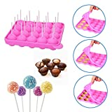 SunTrade 20 Cavity Silicone Pink Party Cupcake Baking Mold Cake Pop Stick Mold Tray,With 1 Pack Plastic Sticks