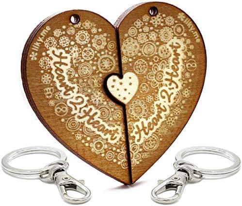 LIKY/® Amor Heart2Heart Llavero coraz/ón Partido Pareja Original de Madera Grabado Regalo para San Valent/ín Mujer Hombre cumplea/ños pasatiempo Colgante Bolso Mochila