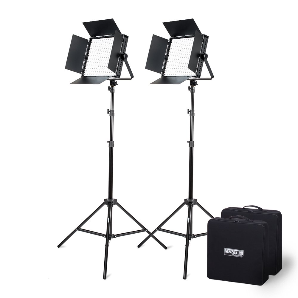 Fovitec - 1x Photography & Video Bi-Color 600 XB LED Panel Kit w/Stands & Cases - [95+ CRI][Continuous Lighting][Stepless Knobs][V-Lock Compatible][3200-5600K]