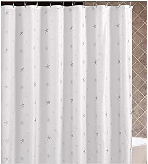 Perfect DOTZ White Shower Curtain, Reflective Silver Design, PEVA ECO Friendly,  100% Waterproof