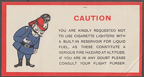 Air-India Airlines No Cigarette Lighters at Altitude airline warning sheet 1950s