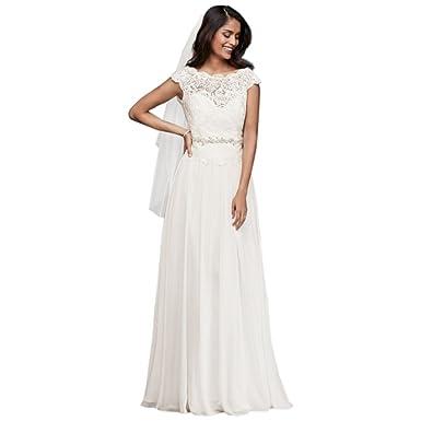 d083fdca562e David's Bridal Illusion Lace and Chiffon A-Line Wedding Dress Style WG3851  at Amazon Women's Clothing store: