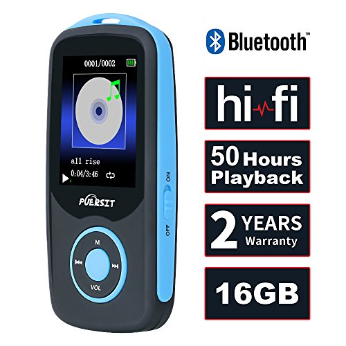 Puersit 16GB Bluetooth HiFi Digital MP3 Music Player with 50 Hours Audio Playback,Support up to 64GB,Blue