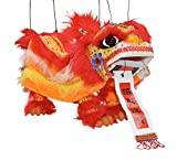 Mandala Crafts Hand String Puppet with Rod, Chinese Marionette Lion Toy, Orange
