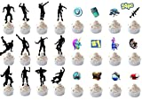 Game Birthday Cake Toppers, Game Party Supplies 24 Pcs DIY Cake Decorations Dance Floss Cupcake Toppers for Birthday Party Favors