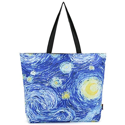 ICOLOR Starry sky Large Eco Reusable Eco-friendly Shopping Bag Handle case Bag School Travel Totes Bag Grocery Overnight Handbag Portable Storage HandBags Convenient Shoppers Tote (Shopper Shoulder Handbags)