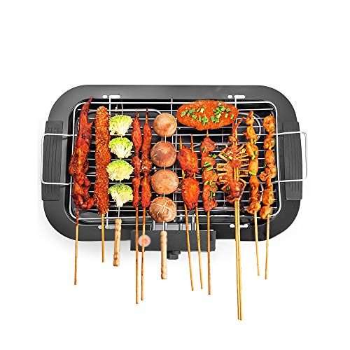 EAHKGmh Household Six-Speed Temperature-Controlled Smoke-Free Multifunctional Barbecue Electric Grill