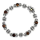 Solid 925 Sterling Silver with 14k Brown Smoky Simulated Quartz Bracelet 7.5'' (10mm)
