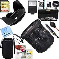 Sigma (202306) 10-20mm F3.5 EX DC HSM Lens for Nikon AF + 64GB Ultimate Filter & Flash Photography Bundle