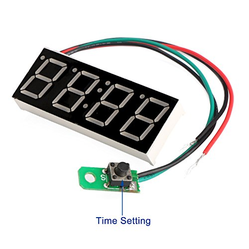 DROK/® Car Clock Digital Timetable 0.56 Blue LED Display Panel Electronic Clock Stopwatch Second Chronograph with Night Light Auto Time Display Car Vehicles 12//24V Battery Operated