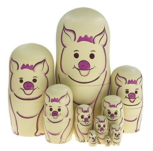 Piece Pig 10 (Alrsodl Lovely Nude Pink Animal Theme Pig Nesting Doll Wooden Matryoshka Russian Doll Handmade Stacking Toy Set 10 Pieces For Kids Girl Mother's Day Gifts Home Decoration)