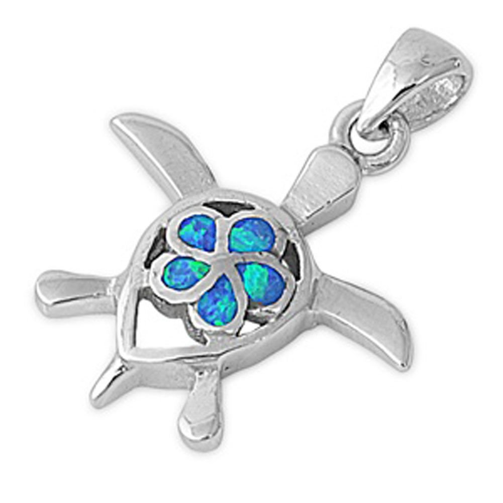Plumeria Turtle Pendant Blue Simulated Opal .925 Sterling Silver Flower Charm - Silver Jewelry Accessories Key Chain Bracelet Necklace Pendants by JumpingLight