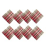 Sully Tartan Christmas Plaid Fabric Napkins, 100% Woven Cotton Holiday Napkin Set, Set of 8 Napkins