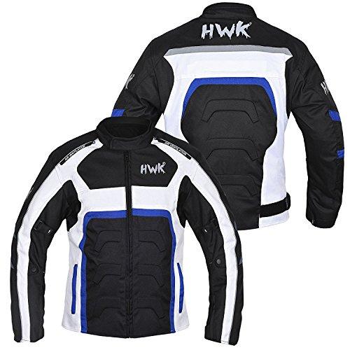 HWK Textile Motorcycle Jacket Motorbike Jacket Biker Riding Jacket Cordura Waterproof CE Armoured Breathable Reissa Membrane - Removable Thermal lining - 1 YEAR WARRANTY!! (Medium, Blue)