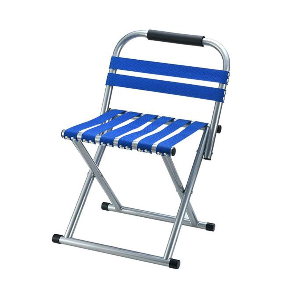 DWJ Camping Chair with Backrest, Folding Portable Fishing Chair Stool Small Chair for Travel Picnic Barbecue (Color : Blue, Size : A) by DWJ