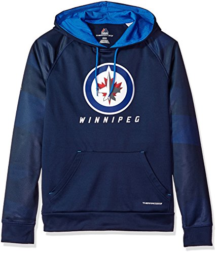 Athletic Majestic Hood (VF LSG NHL Winnipeg Jets Men's Penalty Shot Long Sleeve Fleece Hoodie, Medium, Athletic Navy/Sport Blue)