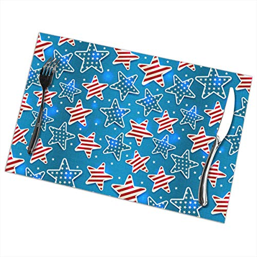 Shining Star Turkey - NALANC Patriots Shining Memorial Day Star Fashion Placemats for Dining Table Set of 6 Heat-Resistant and Skid-Proof Table Mat 12x18 in