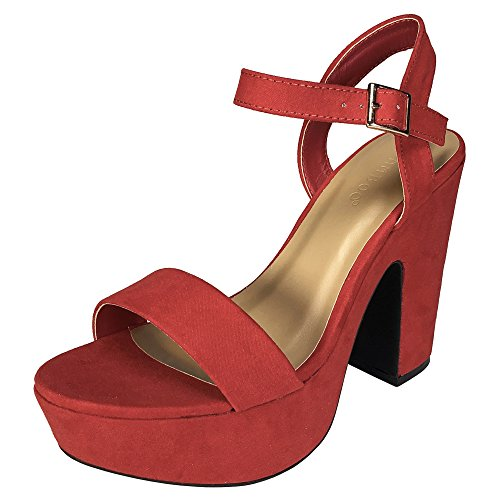 BAMBOO Women's One Band Chunky Heel Platform Sandal with Quarter Strap, Red Faux Suede, 9.0 B (M) US