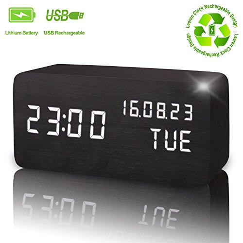 Wooden Digital Alarm Clock, Displays Time Date Week And Temperature, Cube Wood-shaped Sound Control Rechargeable Desk Alarm Clock for Kid, Home, Office, Daily Life, Heavy Sleeper(Black - (Sound Wood)