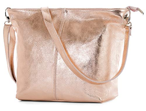 (LIATALIA Women's Medium Hobo Shoulder Bag Genuine 100% Italian Leather Stylish & Elegant Design - ADAL [Metallic - Rose Gold])
