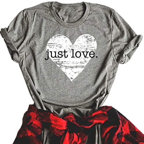Beopjesk Womens Valentine's Day Graphic Tees Short Sleeve Heart Printed Shirts Blouse Tops (L, Grey ()