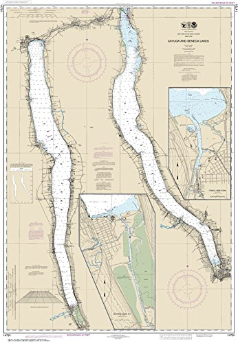 NOAA Chart 14791 Cayuga and Seneca Lakes;Watkins Glen;Ithaca: 46.14'' X 31.89'' Paper Chart By MapHouse by MapHouse