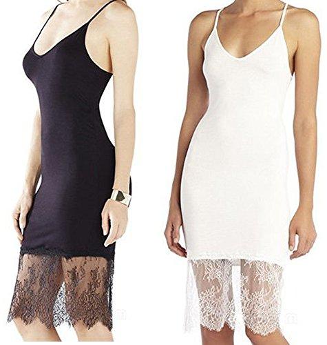 Moxeay Womens Lace Trim Long Tank Slip Top Camisole Dress
