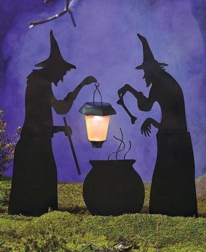 NEW Halloween Silhouettes with Solar Lantern Witches Caldron Ghost Tombstone RIP (Expedite Ship) (3 PC Witches & Caldron)