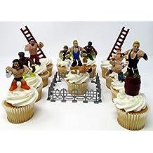 WWE 13 Piece Wrestler Rumblers Wrestling Birthday CUPCAKE Cake Topper Set Featuring 10 RANDOM WWE Rumbler Figures and 3 Random WWE Themed Backdrops