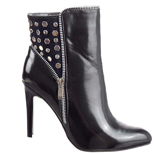 Sopily - damen Mode Schuhe Stiefeletten Low boots Pyramide Quadrat besetzte Strass Schuhabsatz Stiletto high heel - Schwarz