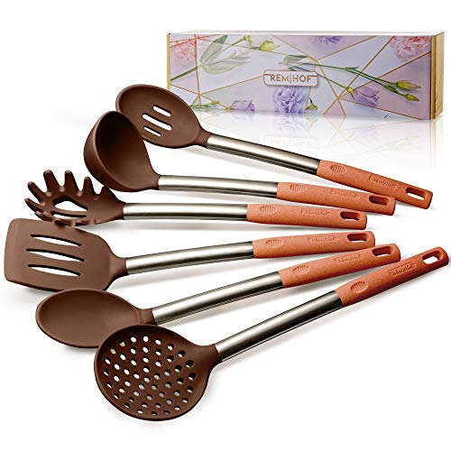 REMIHOF Silicone Kitchen Utensil Set - Non-Stick Cooking Utensils - BPA Free - Safe for Pots & Pans - Best Culinary Set Gift (6, brown)