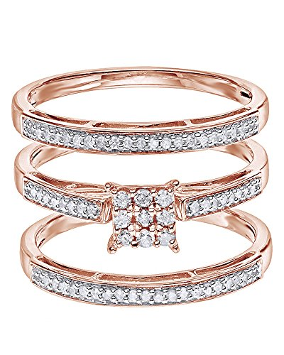 Jewel Zone US White Natural Diamond Wedding & Engagement Trio Band Ring Set in 14k Rose Gold Over Sterling Silver (0.25 (0.25 Ct Diamond Trio)