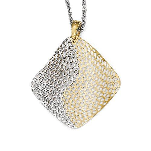 Blanc 14 carats rhodié pendentif JewelryWeb Fancy